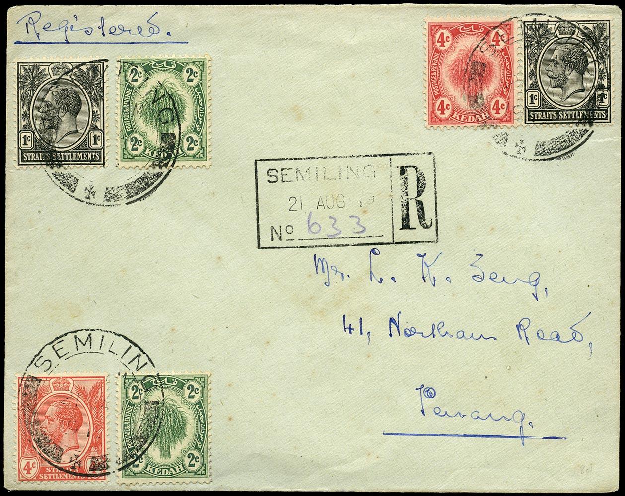 MALAYA - KEDAH 1919  SG18, 20 Cover registered mixed franking from Semiling to Penang