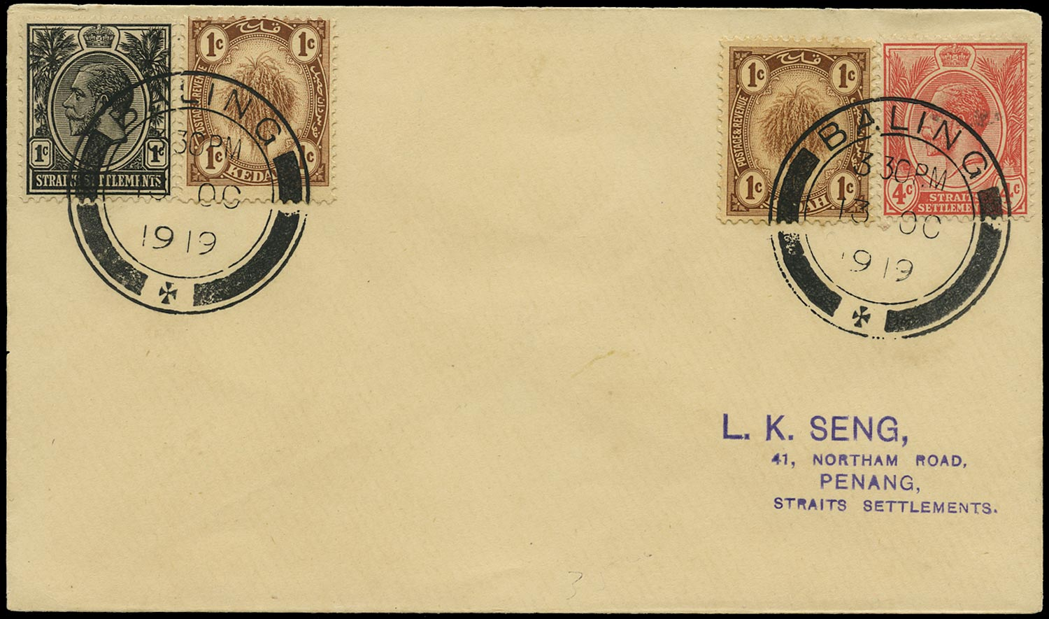 MALAYA - KEDAH 1919  SG15 Cover mixed franking with Straits Settlements 1c and 4c
