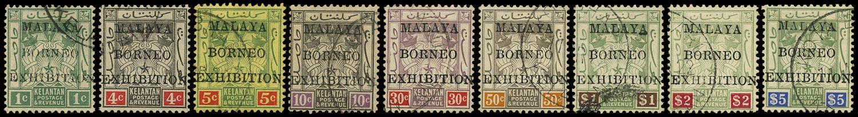 MALAYA - KELANTAN 1922  SG30/38 Used Malaya-Borneo Exhibition set of 9