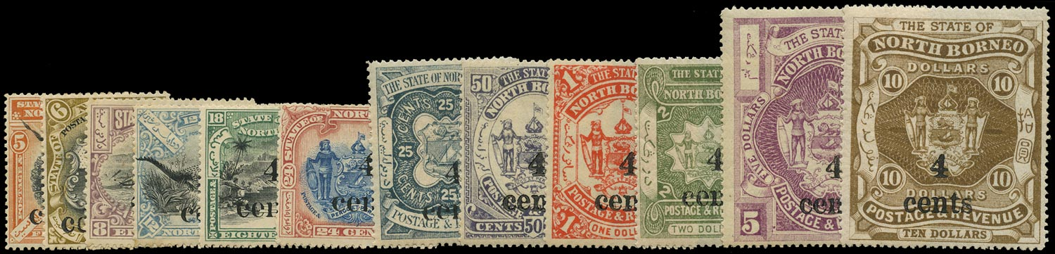 NORTH BORNEO 1904  SG146/57 Mint local 4 cents surcharge set of 12