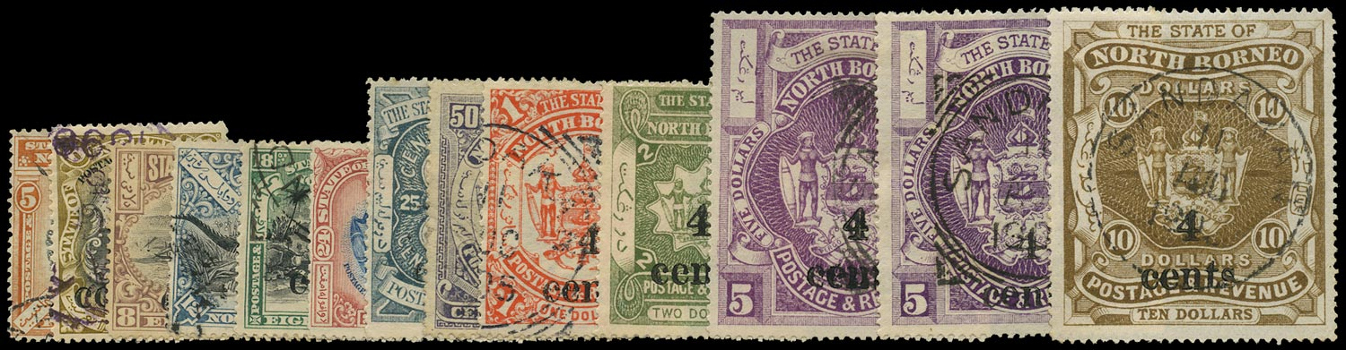 NORTH BORNEO 1904  SG146/57 Used local 4 cents surcharge set of 13 with both $5