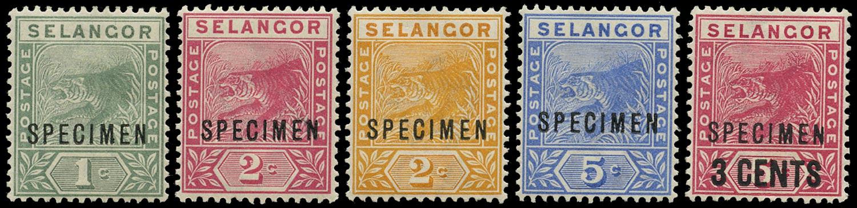 MALAYA - SELANGOR 1891  SG49s/52s, 53s Specimen
