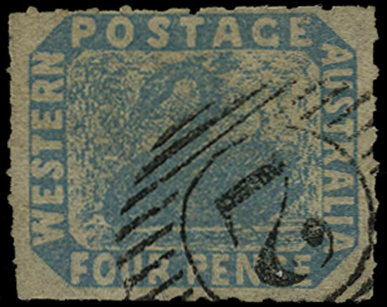 WESTERN AUSTRALIA 1854  SG5 Used 4d pale blue Swan rouletted 7½ to 14