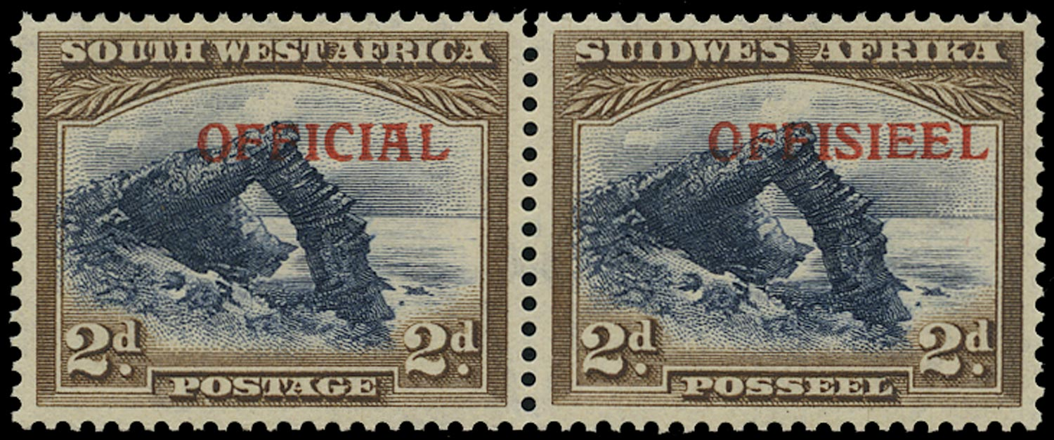 SOUTH WEST AFRICA 1945  SGO21 Official 2d blue and brown type O13/14 overprints unmounted mint