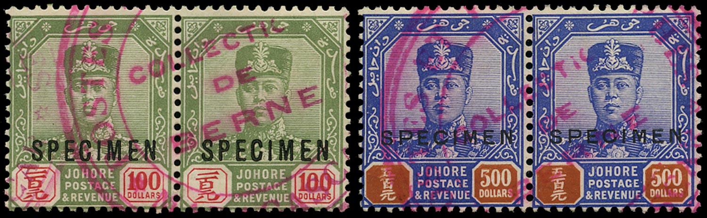 MALAYA - JOHORE 1922  SG127s/8s Specimen