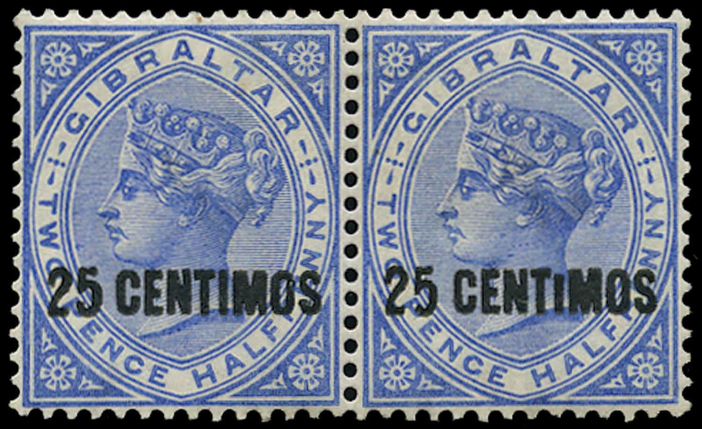 GIBRALTAR 1889  SG18ab Mint 25c on 2½d variety Short I