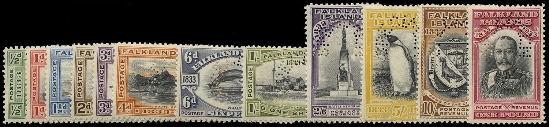 FALKLAND ISLANDS 1933  SGSG127s/38s Specimen Centenary set of 12 to £1