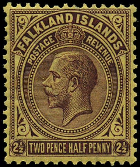 FALKLAND ISLANDS 1921  SG77ay Mint KGV 2½d purple on yellow Script watermark variety watermark inverted and reversed