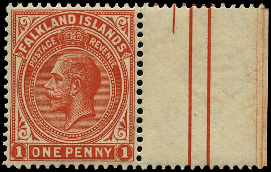 FALKLAND ISLANDS 1921  SG74ay Mint KGV 1d dull vermilion Script watermark variety watermark inverted and reversed