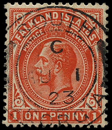 FALKLAND ISLANDS 1912  SG61dx Used in South Georgia 1d orange-vermilion variety watermark reversed