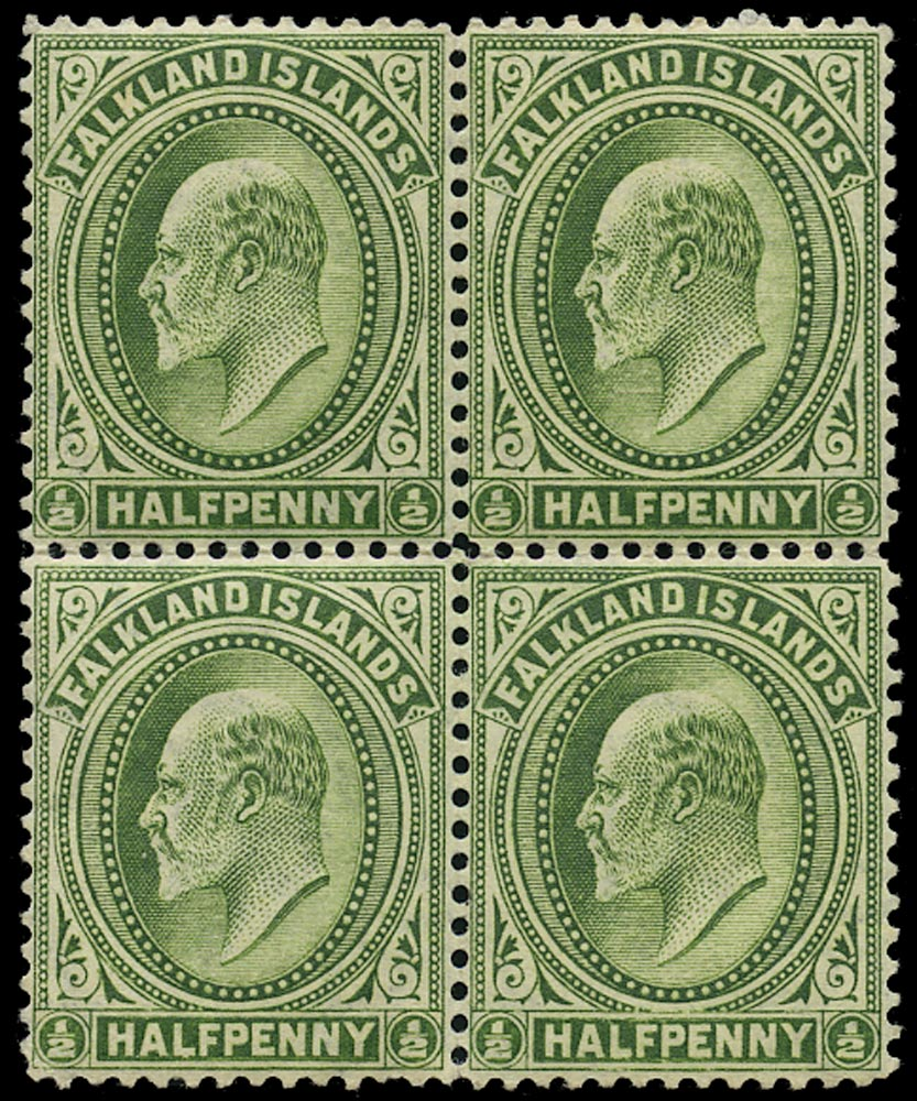 FALKLAND ISLANDS 1904  SG43aw Mint KEVII ½d yellow-green variety watermark inverted