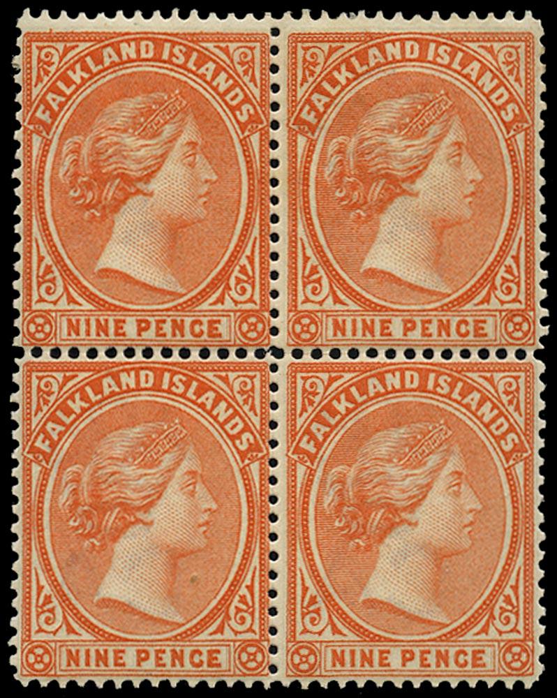 FALKLAND ISLANDS 1891  SG35x Mint QV 9d pale reddish orange variety watermark reversed
