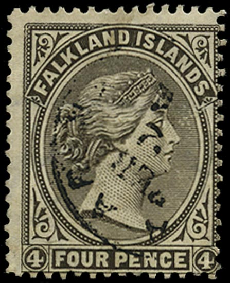 FALKLAND ISLANDS 1889  SG12w Used QV 4d olive grey-black variety watermark inverted used Punta Arenas