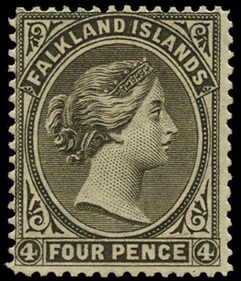 FALKLAND ISLANDS 1885  SG10 Mint QV 4d grey-black watermark sideways