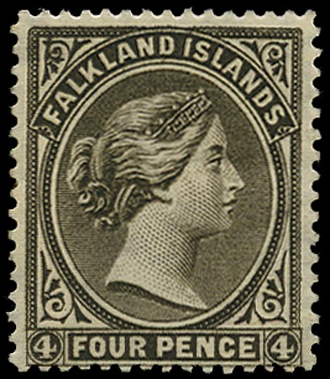 FALKLAND ISLANDS 1885  SG10w Mint QV 4d grey-black watermark sideways (crown to right of CA)