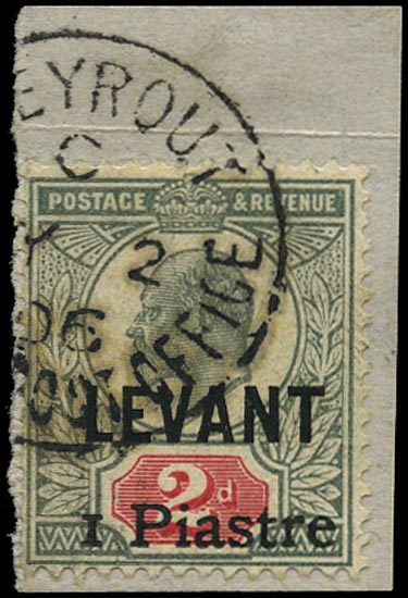 BRITISH LEVANT 1906  SG15 Used 1 Piastre on 2d grey-green and carmine Beyrout provisional