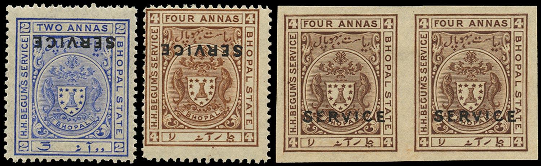 I.F.S. BHOPAL 1908  SGO307a, 308a, 308c Official