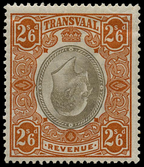 TRANSVAAL 1902 Revenue 2s6d grey-brown and orange INVERTED CENTRE