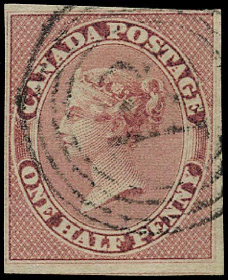 CANADA 1852  SG17 Used QV ½d deep rose on machine-made paper