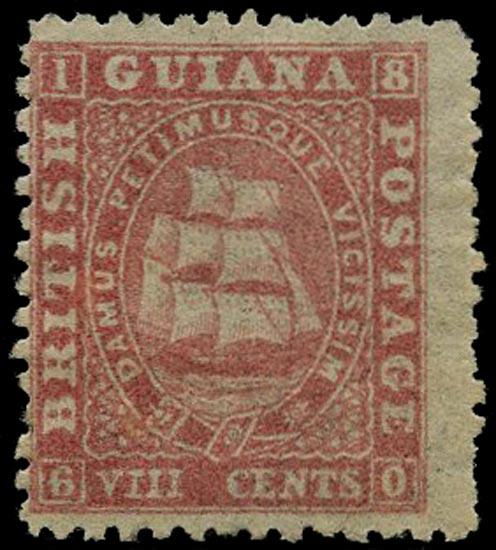 BRITISH GUIANA 1862  SG62 Mint 8c pink Ship on medium paper perf 12½-13