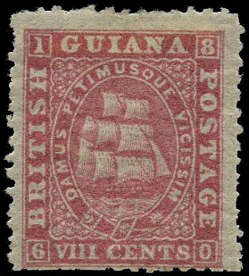BRITISH GUIANA 1863  SG73 Mint 8c pink Ship on medium paper perf 12½-13
