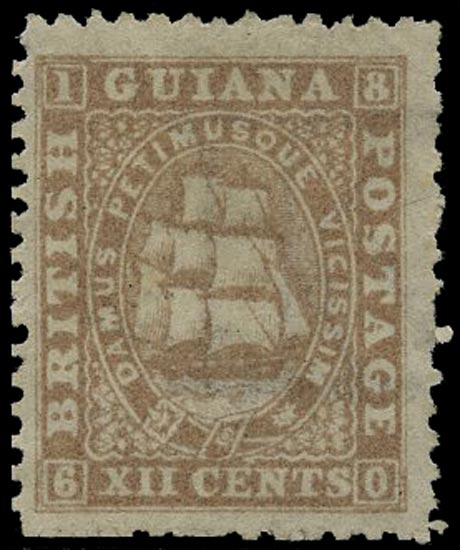BRITISH GUIANA 1863  SG75 Mint 12c grey-lilac Ship with papermaker's watermark