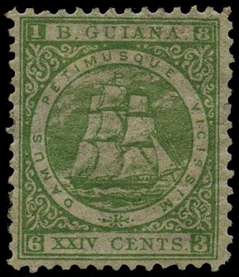 BRITISH GUIANA 1863  SG78 Mint 24c yellow-green Ship perf 12