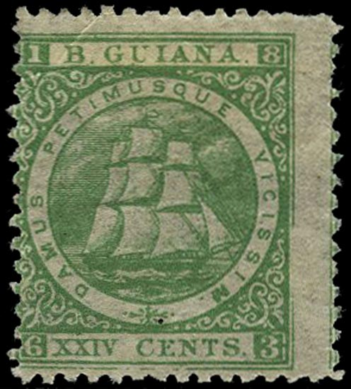 BRITISH GUIANA 1863  SG81 Mint 24c blue-green Ship perf 12½-13