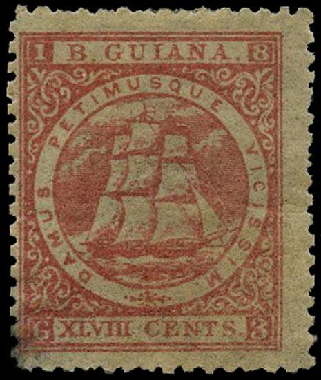 BRITISH GUIANA 1863  SG82 Mint 48c pale red Ship perf 12½-13
