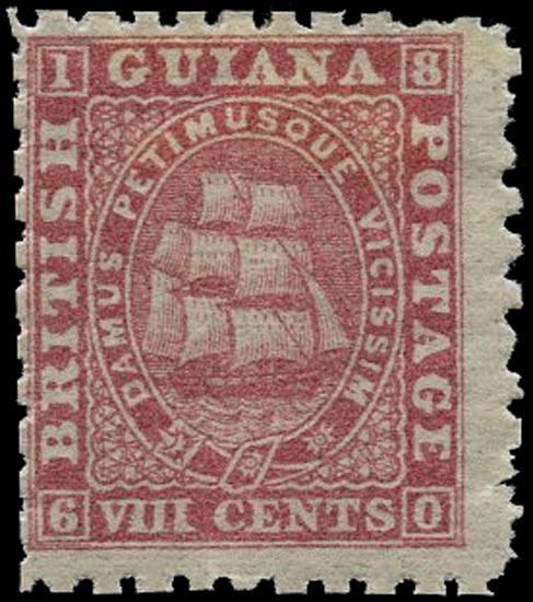 BRITISH GUIANA 1866  SG95 Mint 8c pink Ship perf 10