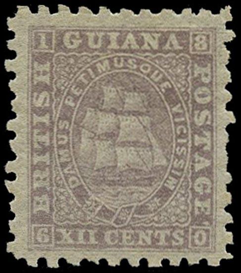 BRITISH GUIANA 1866  SG97 Mint 12c pale lilac Ship perf 10