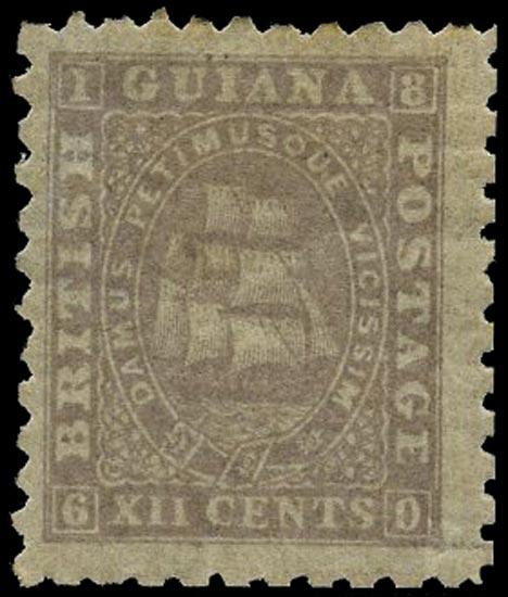 BRITISH GUIANA 1866  SG98 Mint 12c grey-lilac Ship perf 10