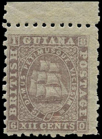 BRITISH GUIANA 1866  SG100 Mint 12c lilac Ship perf 10