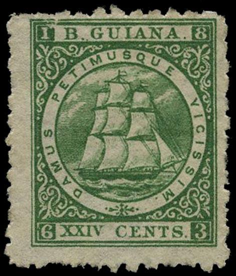 BRITISH GUIANA 1866  SG101 Mint 24c deep green Ship perf 10
