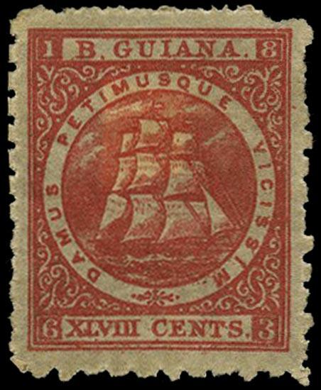 BRITISH GUIANA 1866  SG104 Mint 48c crimson Ship perf 10