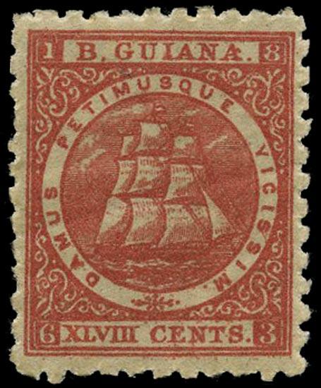 BRITISH GUIANA 1866  SG105 Mint 48c red Ship perf 10