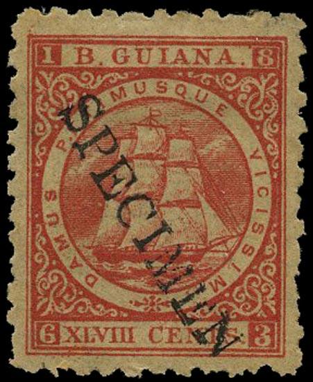 BRITISH GUIANA 1866  SG104s Specimen 48c crimson Ship perf 10