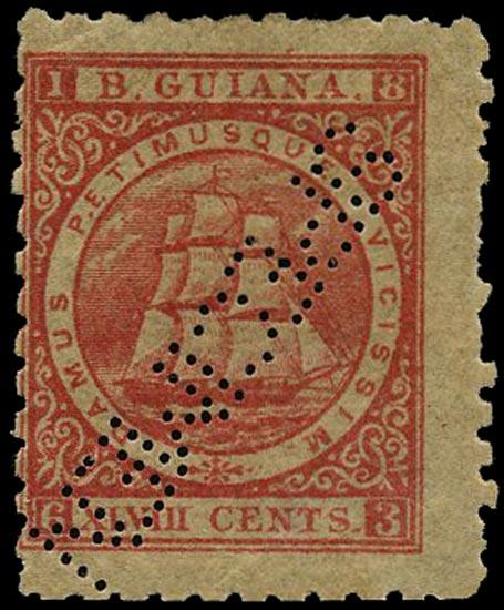 BRITISH GUIANA 1866  SG104as Specimen 48c crimson Ship perf 10