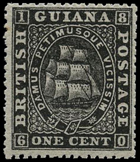 BRITISH GUIANA 1875  SG106 Mint unmounted 1c black Ship