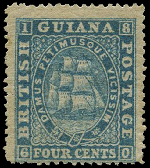 BRITISH GUIANA 1875  SG109 Mint 4c bright blue Ship perf 15
