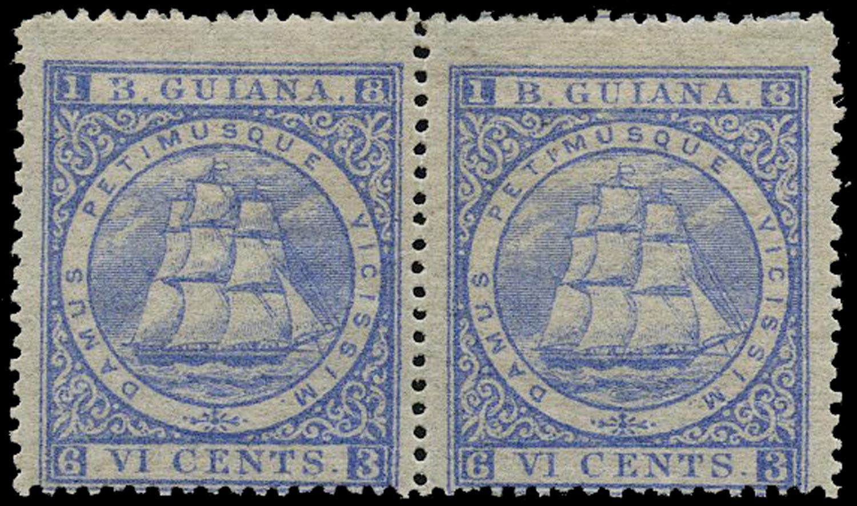 BRITISH GUIANA 1875  SG111 Mint 6c ultramarine Ship perf 15 with 3 for B variety