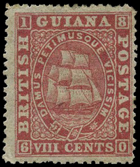 BRITISH GUIANA 1875  SG112 Mint 8c deep rose Ship perf 15
