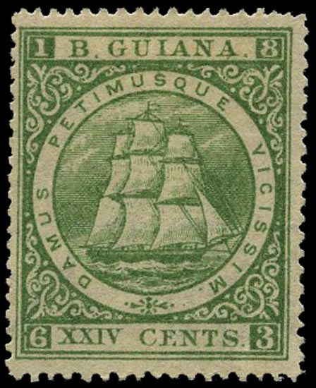 BRITISH GUIANA 1875  SG114 Mint 24c yellow-green Ship perf 15 with papermaker's watermark