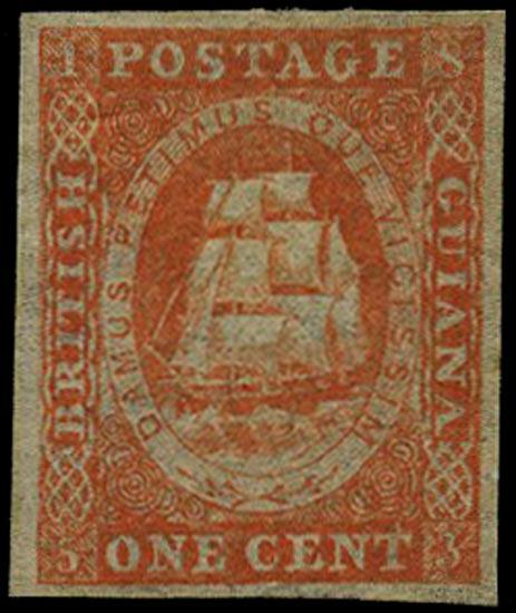 BRITISH GUIANA 1853  SG11 Mint 1c vermilion original printing without white line above value