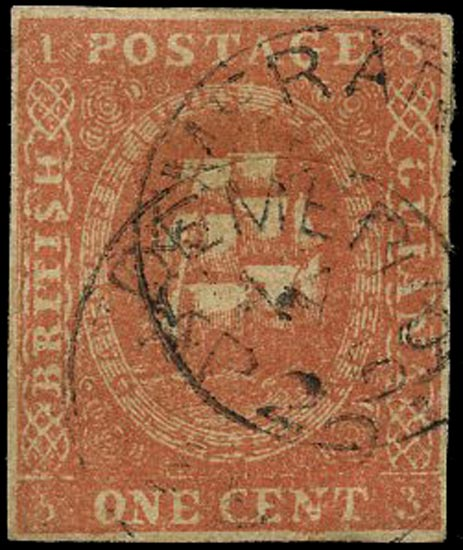BRITISH GUIANA 1853  SG12 Used 1c dull red Ship fresh lithographic transfer type A