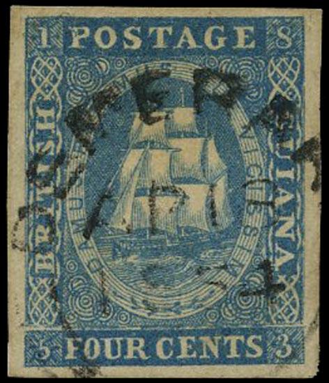 BRITISH GUIANA 1860  SG18 Used 4c deep blue Ship