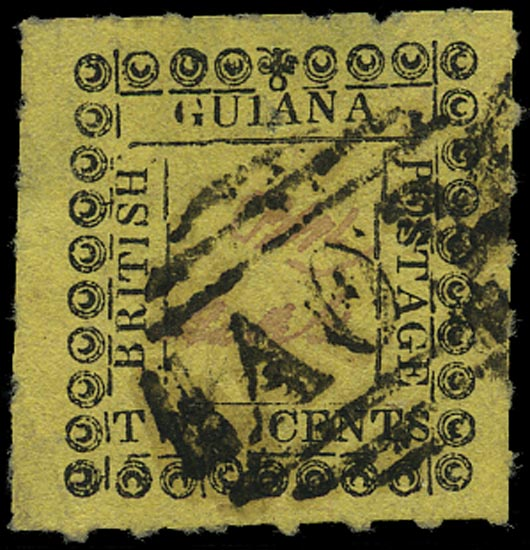 BRITISH GUIANA 1862  SG120c Used 2c yellow type 11 with variety Wrong ornament at top