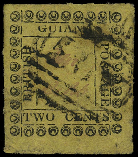 BRITISH GUIANA 1862  SG120e Used 2c yellow type 11 variety 1 for I and italic S in POSTAGE