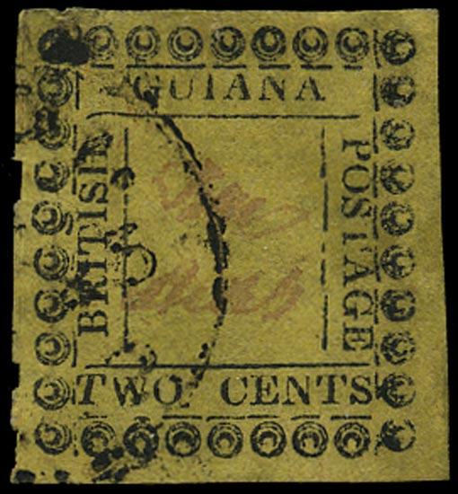 BRITISH GUIANA 1862  SG120f Used 2c yellow type 11 variety italic T in TWO