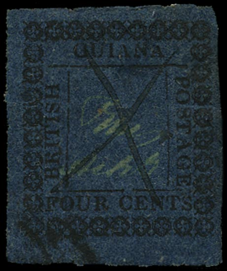 BRITISH GUIANA 1862  SG123b Used 4c blue type 14 with inner frame lines